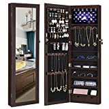 SONGMICS 6 LEDs Cabinet Lockable 47.3' H Wall/Door Mounted Jewelry Armoire Organizer with Mirror, 2 Drawers, Dark Brown UJJC93K