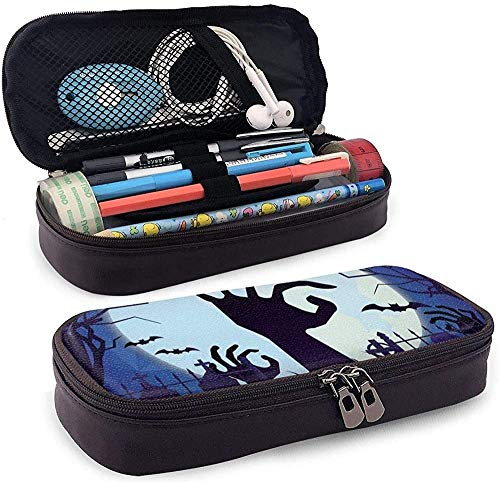 Astucci Happy Halloween Horror Night Bat Zombie Hand Moon Leather Cute Pencil Case - Pencil Pouch...