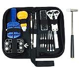 14 piezas de herramientas de reparación de reloj, caja de apertura, herramienta de pasadores de resorte, bolsa de transporte 14pcs Negro