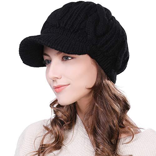 SIGGI Damen Dicke Strickmütze gestrickte Barett Mütze mit Visor Baskenmütze Schirmmütze