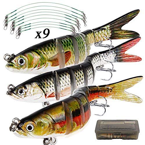 MEJOSER 3pz Esche Artificiali Spinning 9pz Lenza da Pesca Mare Scatola Esca Finta Esche da Pesca a pi Sezioni Dura con Ganci