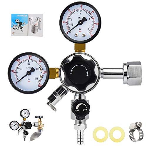 MRbrew Keg Regulator CO2, Kegerator Regulator CGA-320, 0-60 PSI Working Pressure, 0-3000 PSI Tank Pressure, Beer Regulator, Co2 Pressure Regulator with Safety Pressure Relief Valve
