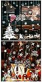 Cymax Noël Autocollants Fenetre Décoration, Amovible Stickers Flocon Rennes Noel Deco pour Porte Vitrine en Verre