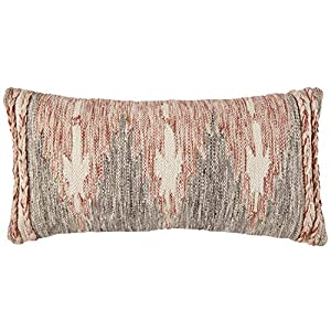 "This multicolor modern throw pillow evokes the notion of fire with its faded red, white, and black pattern. Plaited ropes of all three colors adorn the edges in a textured double-stripe. Wool/cotton Imported 12""L x 24""W With the zipper placed on the ..."