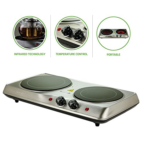 Ovente Electric Glass Infrared Burner 7 Inch Double Hot Plate with Temperature Control, 1000 Watts, Fire Resistant Metal Housing, Indicator Light, Compact and Portable, Silver (BGI102S)