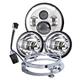 Dot Appoved Chrome 7inch LED Headlight with 4.5inch Matching Chrome Passing Lamps for Harley Motorcycles with Adapter Ring and wire adapter