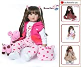 Zero Pam Reborn Baby Dolls Toddler Realistic Girl 24 Inch 60cm Real Looking Baby Silicone Limbs and Head Soft Cloth Weighted Body 6-12M Bebe Feel with Beautiful Princess Dress (Giraffe Set)