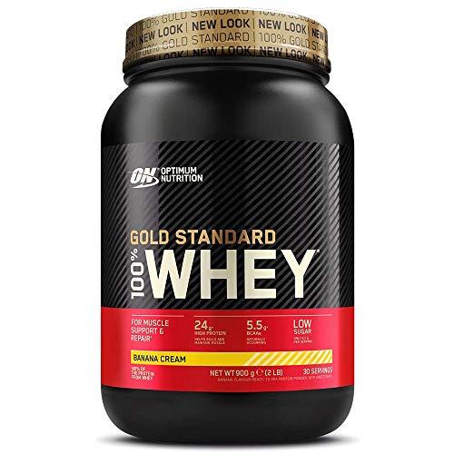 Optimum Nutrition ON Gold Standard Whey Protein Pulver, Eiweißpulver Muskelaufbau mit Glutamin und Aminosäuren, natürlich enthaltene BCAA, Banana Cream, 29 Portionen, 900g
