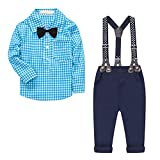 Baby Boy's 2 Pieces Tuxedo Outfit, Long Sleeves Plaids Button Down Dress Shirt with Bow Tie + Suspender Pants Set for Infant Newborn Toddlers, Blue, 6-9 Months = Tag 70