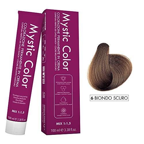 Mystic Color - Colore Biondo Scuro 6 - Tinta per Capelli - Colorazione Professionale Permanente in Crema - Con Cheratina Idrolizzata, Olio di Argan e Calendula - 100 ml