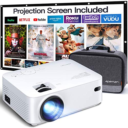 APEMAN Mini Projector, 1080P Supported, 200'' Max Display 60000 Hrs Lamp Life Portable Video...