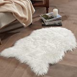 Bedsure Sheepskin Rug Faux Fur Rug - Fluffy Small White Shag Fur Rug for Photography, Fuzzy Furry Shaggy Area Rug for Bedroom, 2 x 3ft