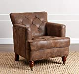 Abbyson Living Traditional Upholstered Distressed Fabric Club Chair with Tufted Seat and Nailhead Trim, Antique Brown