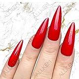 Red Hot Sculpted extra long Stiletto Press on fake nails - False nail tips full cover nai