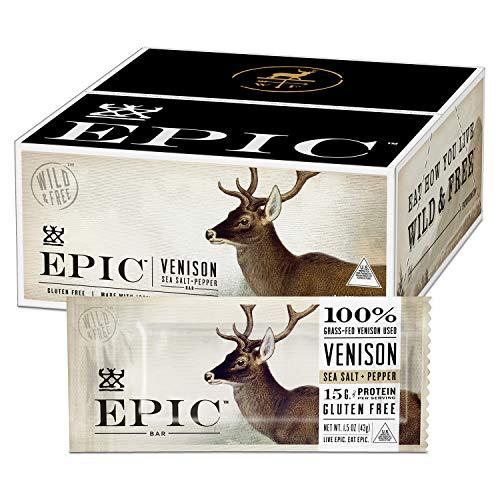 EPIC Venison Sea Salt & Pepper Bars, Whole 30, Keto Friendly, 12Ct Box 1.5oz bars