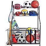 Mythinglogic Garage Storage System, Garage Organizer with Baskets and Hooks, Sports Equipment Organizer for Sports Gear/Toys,Garage Ball Storage for Indoor/Outdoor Use