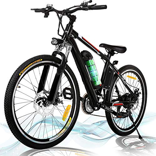 Product Image 1: Kemanner 26 inch Electric Mountain Bike 21 Speed 36V 8A Lithium Battery Electric Bicycle for Adult (Black) (Black)