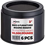 "iPrimio Bed and Furniture Risers – 6 Pack Round Elevator up to 3"" & Lifts Up to 10,000 LBs - Protect Floors and Surfaces – Durable ABS Plastic and Anti Slip Foam Grip – Non Stackable – Black"