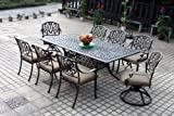 Darlee Elisabeth Cast Aluminum 9 Piece Dining Set with 44'' X 84'' Rectangular Tabel, Antique Bronze Finish