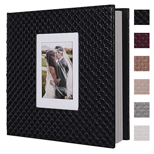 RECUTMS-Scrapbook-Photo-Album-60-Pages-Handmade-DIY-4x6-5x7-8x10-Photos-of-Any-Size-Button-Grain-Leather-Cover-of-Wedding-Photo-Album-Baby-Picture-Book-Family-Scrapbook-Photo-Album-Black