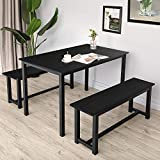 BAHOM 3 Pieces Kitchen Dining Table with 2 Benches Solid Wooden Tabletop and Steel Support Structure for Home, Kitchen, Dining Room (Black, 3pc)