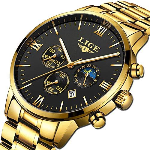 LIGE Herren Uhren Männer Militär Edelstahl Gold Schwarz Wasserdicht Chronograph Armbanduhr Mann Elegant Datum Kalender Sport Dress Quarz Uhr