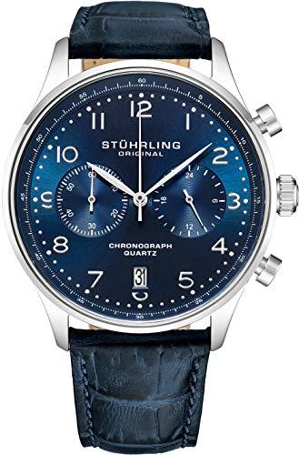 Stuhrling Original Herren Quarz Chronograph Uhr - Edelstahlgehäuse und Lederarmband - Analoges Zifferblatt mit Datumsanzeige GR1-Q Herrenuhrenkollektion