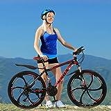 Adult Mountain Bike, Unisex Folding Outdoor Bicycle, Aluminum Full Suspension Frame Folding Road Bike 21 Speed Disc Brakes Mountain Bicycle, 700c (Black B)