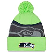 New Era Seattle Seahawks Knit Cuff Beanie w/ Pom New Era Gold Series Collection Product Classic Team Logo Trimmed in Gold Designed To Fit A Variety Of Head Sizes - One Size Fits All New Era Authentic Product