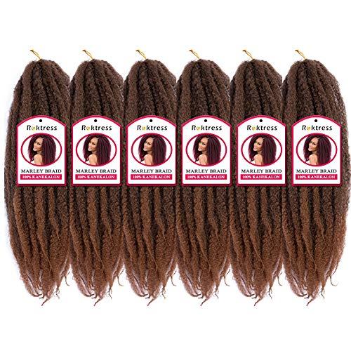 Roktress 6 Pack Marley Hair Marley Braid Crochet Hair Long Afro Kinky Marley Twist Braid Hair Extension 100% Kanekalon Synthetic Fiber Low Tempreture (24'6pcs, T30#)