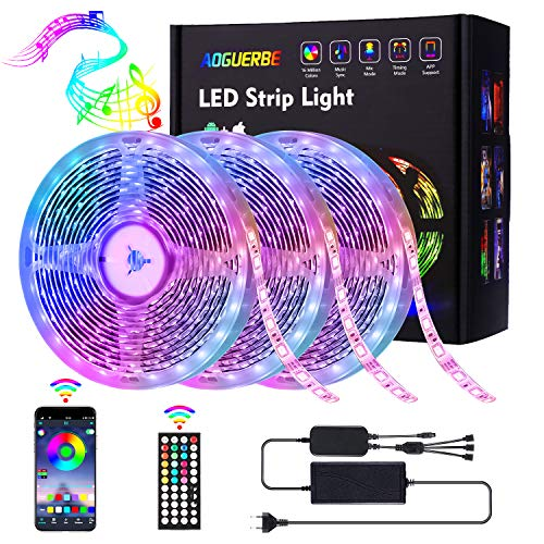 AOGUERBE Striscia LED 15M Strisce Luminose Luci LED Strip Lights 5050 RGB Musica Cambia Colore Striscia Luminosa 44 Tasti Telecomando IR Nastri Decorativa per Casa Cucina TV Feste [Controllato da APP]