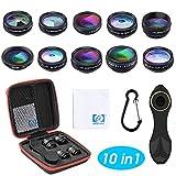 Orlegol Objectif Smartphone, 10 en 1 Téléphone Caméra Lentille Kit, 198° Fisheye, 0.63X Objectif Grand Angle, Macro, Kaléidoscope, Flux, Star, CPL, Telephoto Filtre, pour iPhone Samsung Huawei Android