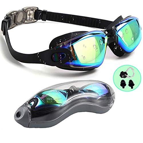 PrimAlite Swimming Goggles Silicone Anti-Fog, UV Protection for Adults Men Women Kids with Protection Case Kit- No Leaking Swim Glasses Professional Adjustable Strap Comfort fit- Aqua Black