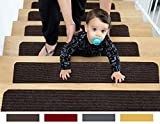 EdenProducts Patent Pending Non Slip Carpet Stair Treads, Set of 15, Rug Non Skid Runner. 8' X 30', Brown, Pre Applied Adhesive