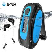Waterproof MP3 Player with Screen,Swimming MP3 Player with Rotatable Clip, IPX8 Headphones for Running Water Sports,AGPTEK S07E 8GB Music Player Support FM, Shuffle