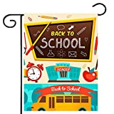 Iceyyyy Welcome Back to School Garden Flag, Double-Sided School Bus Burlap Flag, Pupils and Bus Decor Banner for School Day (Not Include a Flag Pole)