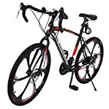 ETHY Mountain Bike, Commuters Aluminum Lightweight Full Suspension Road Bike 21 Speed Disc Brakes, 700c, for Adult Youth Outdoor Outroad