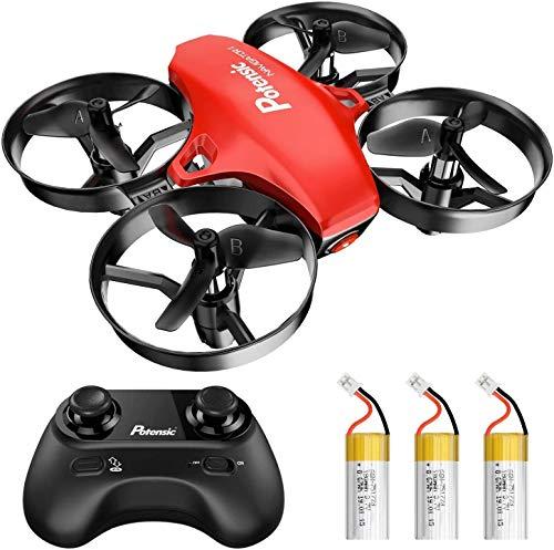 Potensic Drone per Bambini con Tre Batterie Quadricottero RC Drone Giocattolo Economico modalit Senza Testa con Telecomando Avvio e Atterraggio con Un Pulsante, Rosso