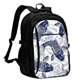 asfg Resistente a Las Manchas Blue Carp Multifunctional Personalized Customized USB Backpack, Student School Outdoor Backpack,Travel Bag Laptop Bookbags Business Daypack.