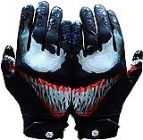 Taqcha Villain Football Gloves - Tacky Grip Skin Tight Adult Football Gloves - Enhanced Performance Football Gloves Men - Pro Elite Super Sticky Receiver Football Gloves - Adult Sizes (Small)