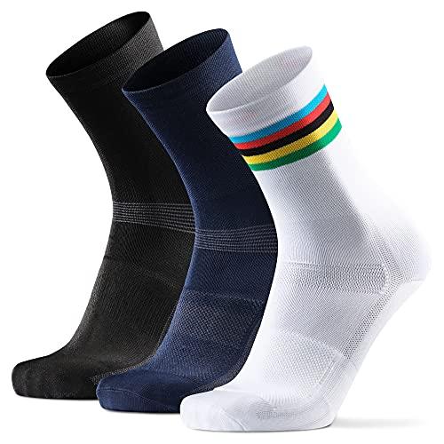 DANISH ENDURANCE Calzini da Ciclismo Lunghi Pacco da 3 (1 x Bianco/A Righe, 1 x Nero, 1 x Blu, EU 39-42)