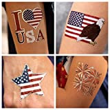 24 Patriotic Temporary Tattoos | 4th of July Party Supplies | USA Party Favors and Fourth of July...
