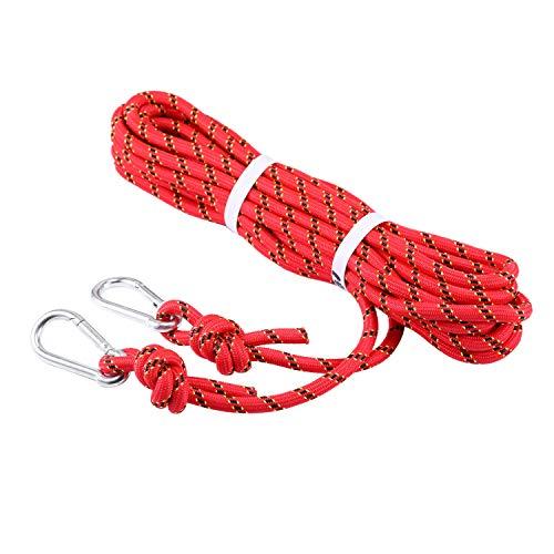 Selighting Einfach Kletterseil 10mm Sicherheitsseil für Wandern Bergsteigen Outdoor Sport (Rot, 10m)