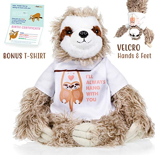 Sloth stuffed animal - The Original I'll Always Hang with you Large Sloths plush animals toy. Sloth gifts w/ Velcro Hands for Birthdays, Valentines or Christmas. Cute, Fun, Soft, and Pre Gift Wrapped!
