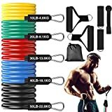 IOOKNA Long Resistance Bands Set, with Handle, Door Anchor and 5 Fitness Bands, Portable Exercise Bands Elastic up to 150lb, Multifunction Heavy Workout Bands Home Gym Equipment for Men/Women