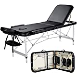 Yaheetech Massage Table Portable Massage Bed 3 Folding 84 Inch Aluminium Frame Lightweight Height Adjustable Salon Spa Table with Carry Case - Black