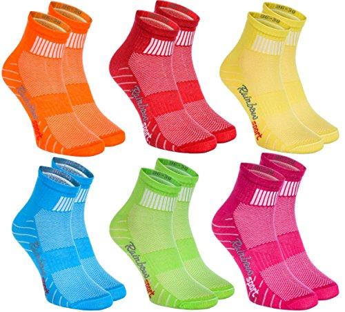 Rainbow Socks - Donna Uomo Colorate Calze Sportivi di Cotone - 6 Paia - Arancione Rosso Giallo Verde Mer Verde - Taglia 36-38