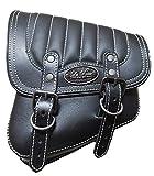 La Rosa Harley-Davidson All Softail Models Left Side Solo Saddle Bag Swingarm Bag Black w/White Thread Tuk n Roll