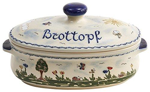 Vivapollo Original Brottopf Brotkasten Keramik westerwälder Kannenbäckerland salzglasierte Steinzeug Steingut Keramik Ton oval groß Heile Welt Deutsche Handarbeit