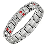 Feraco Magnetic Bracelets for Mens Arthritis Pain Relief Sleek Titanium Stainless Steel Double-Row 4 Elements Magnets Bracelet